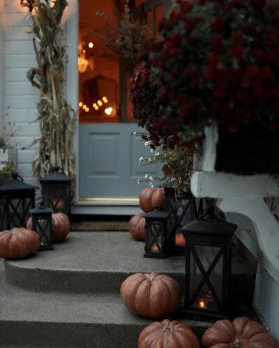 cozy autumn front porch