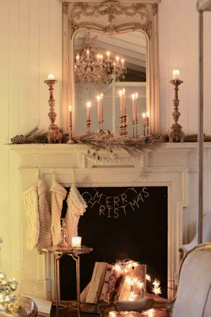French Country Cottage Fireplace Christmas