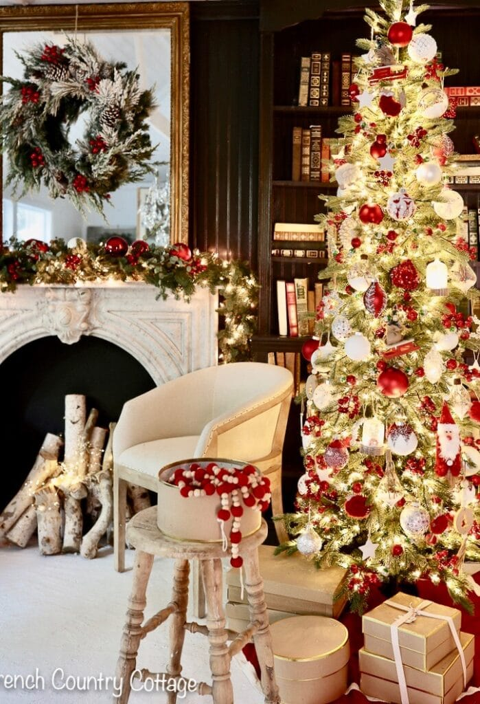 12 Trees Of Christmas Red White French Country Cottage