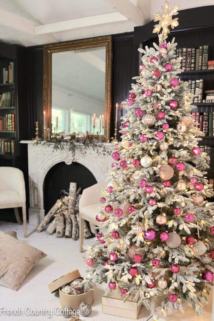 Frosted tree with hot pink ornaments