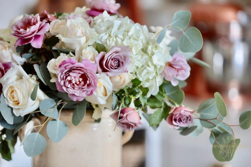Close up of new floral arrangement