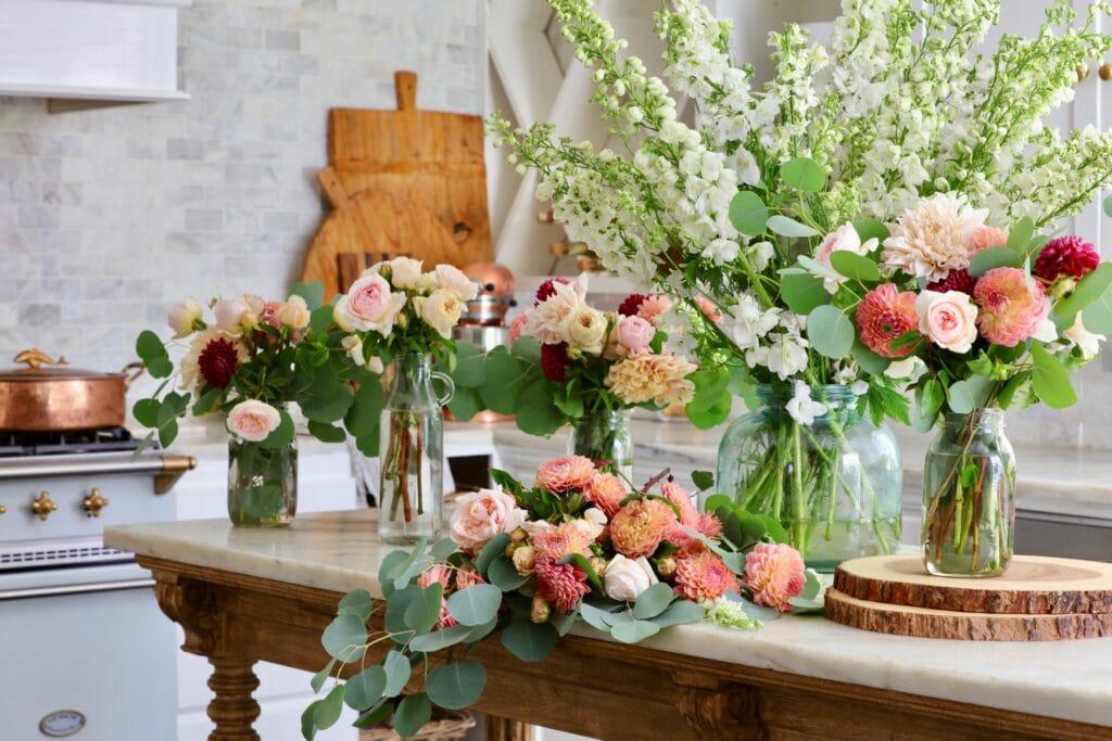 Summer flowers on island in kitchen
