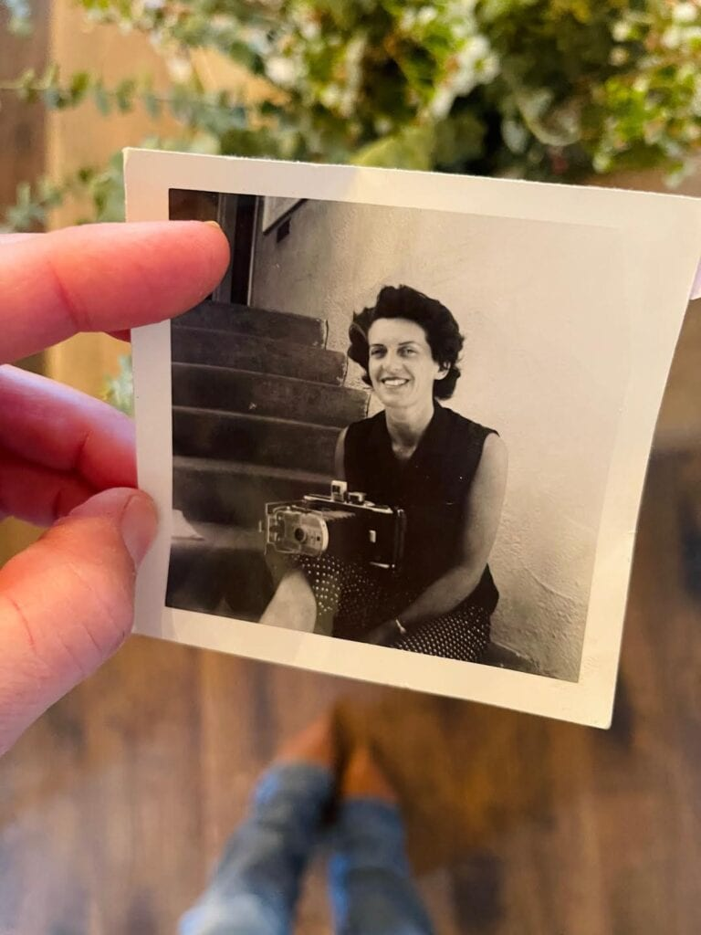 Old photo of my grandmother with a camera