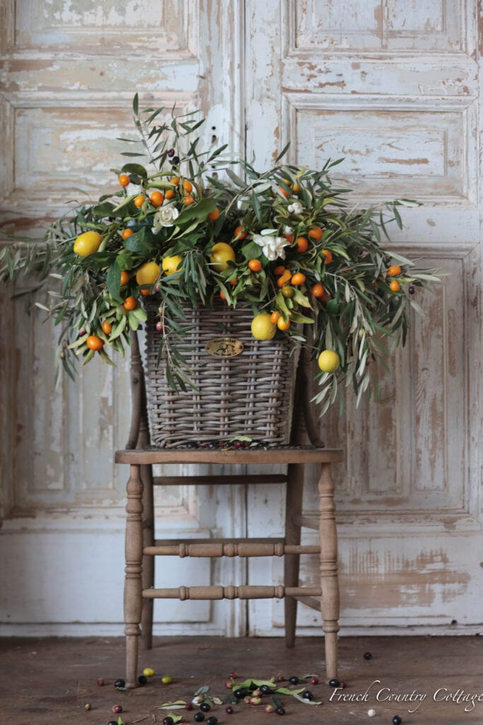 Olive branches with lemons and kumquats door decoration