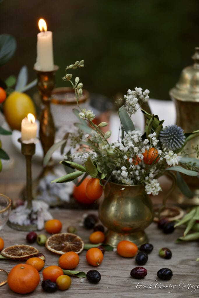 Citrus and candles on the table