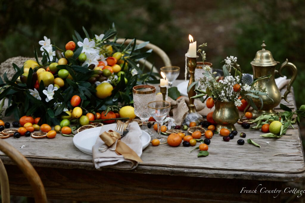 citrus as a centerpiece on the table