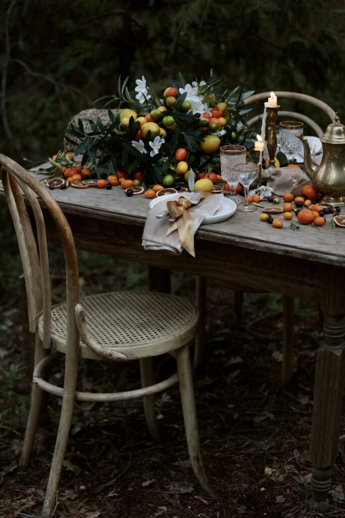 using faux flowers as a table centerpiece