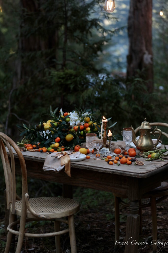 faux citrus basket and fruit on the table