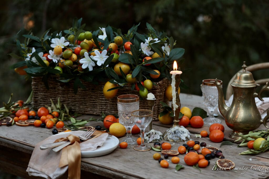 faux citrus flowers on the table