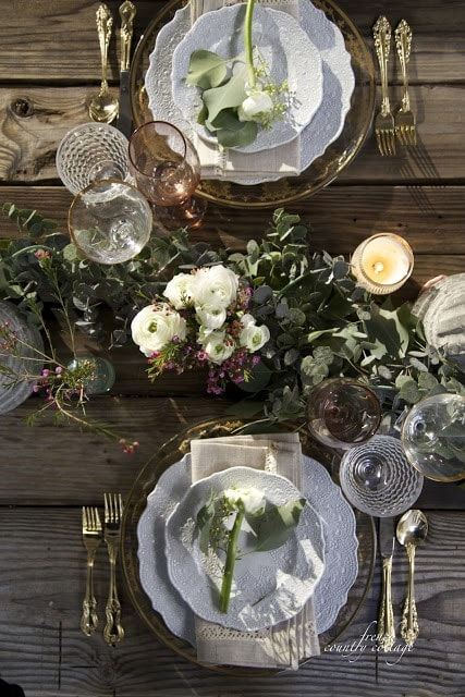 Eucalyptus garland in center of holiday table
