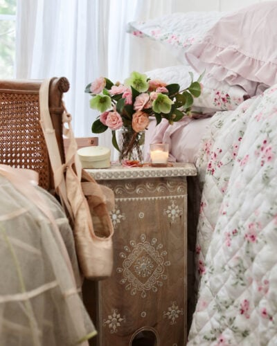 side table bedroom with flowers