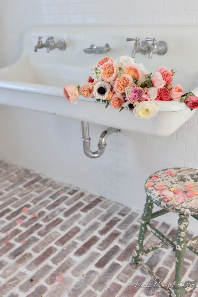 Antique Vintage Farmhouse Trough Sink with antique faucets