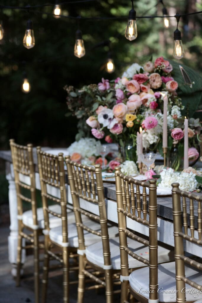 Outdoor dining table set for baby shower