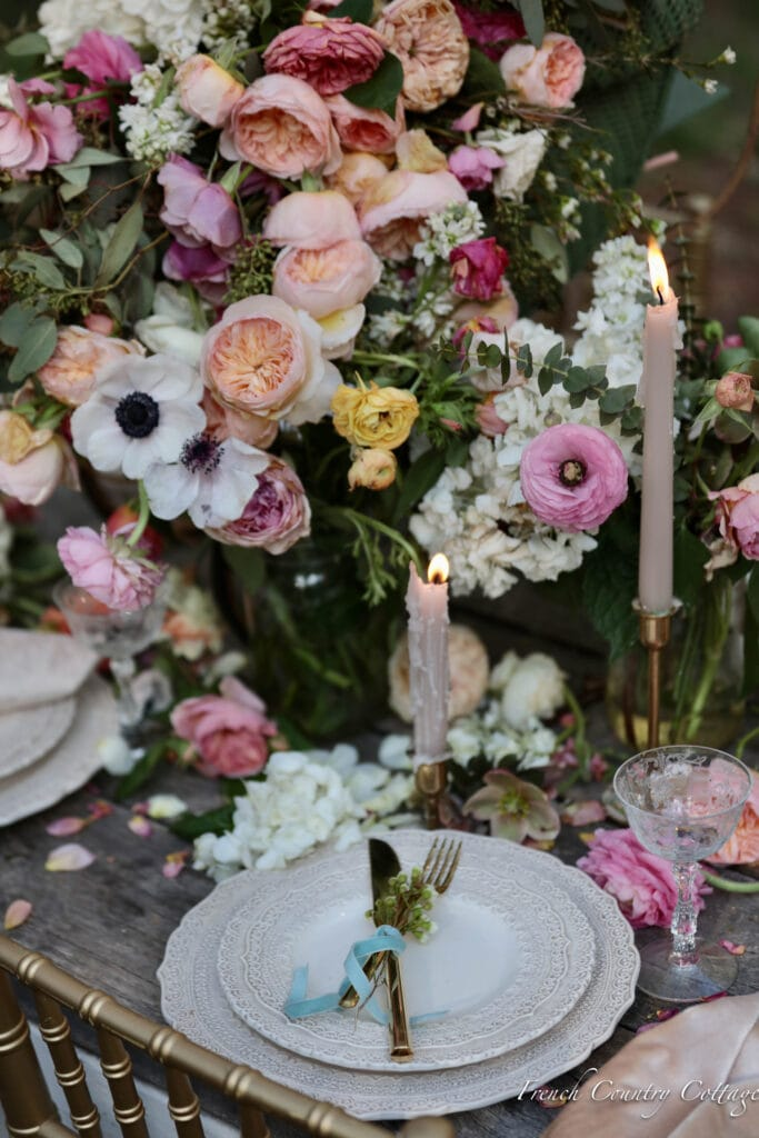 Flower filled centerpiece on dining table