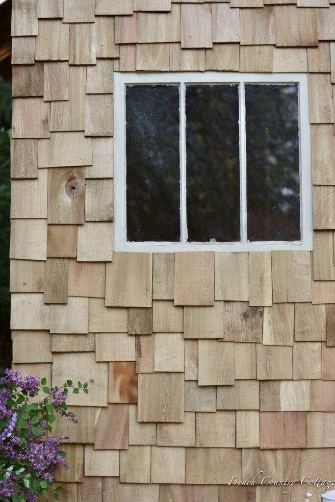 Cedar shake shingles on potting shed