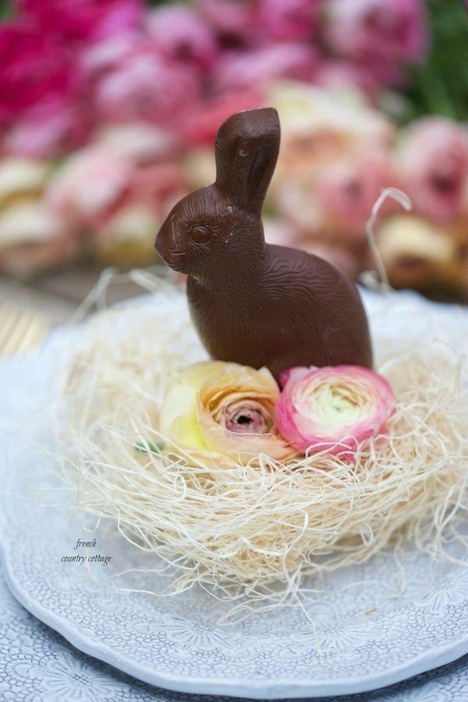 Chocolate rabbit place setting