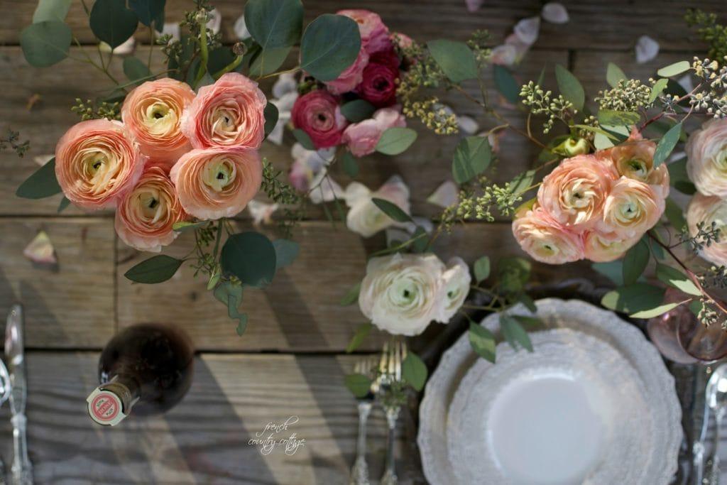 Ranunculus flowers on Easter Table.