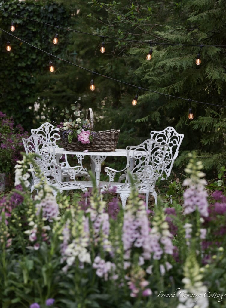 Vintage style patio set in garden