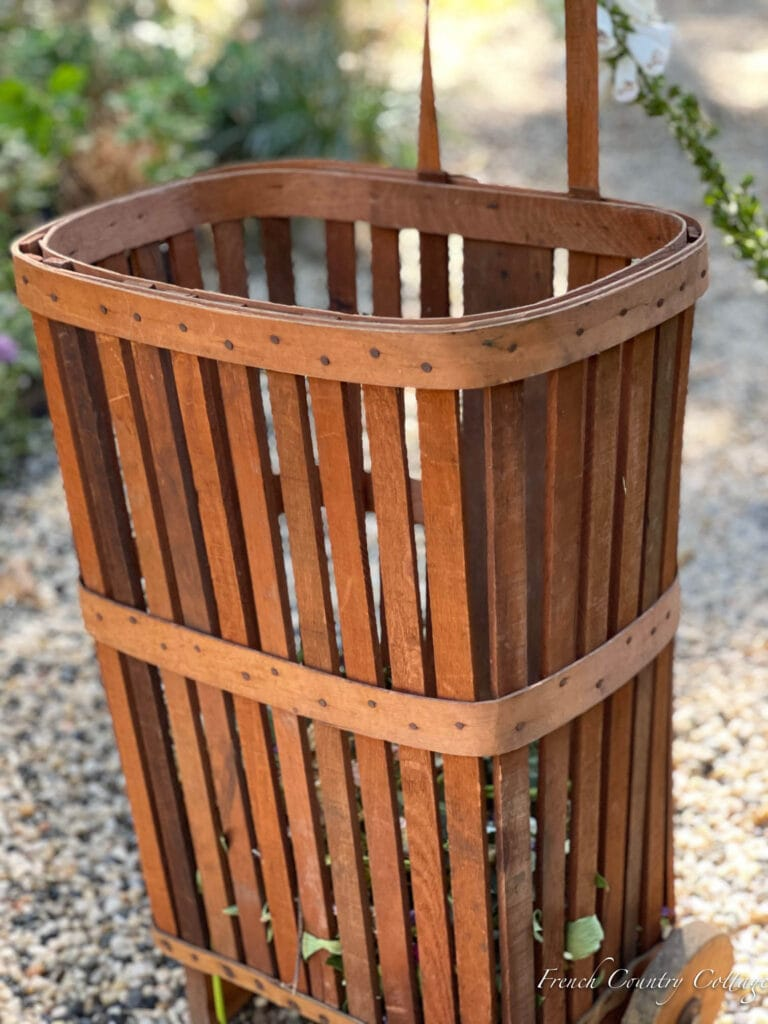 close up of wooden slats on a French Market shopping cart