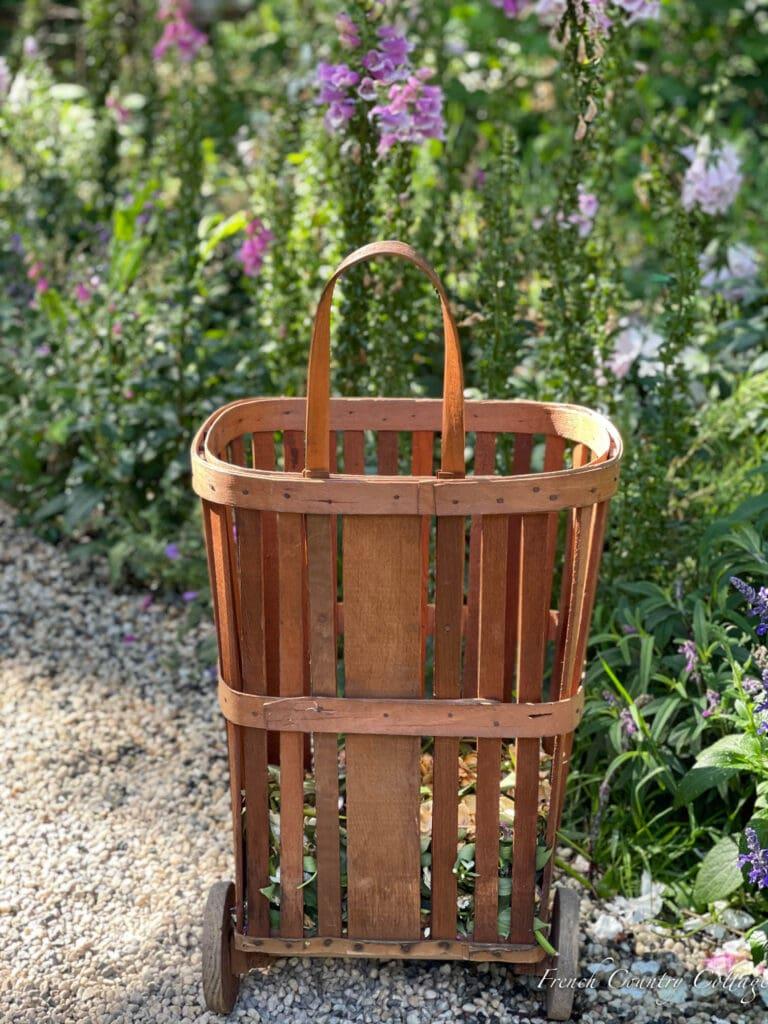 back of French Market shopping cart in garden