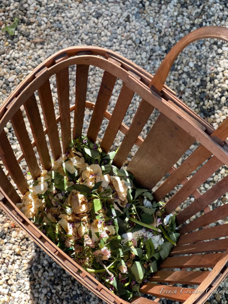 inside of French Market shopping cart with flower petals