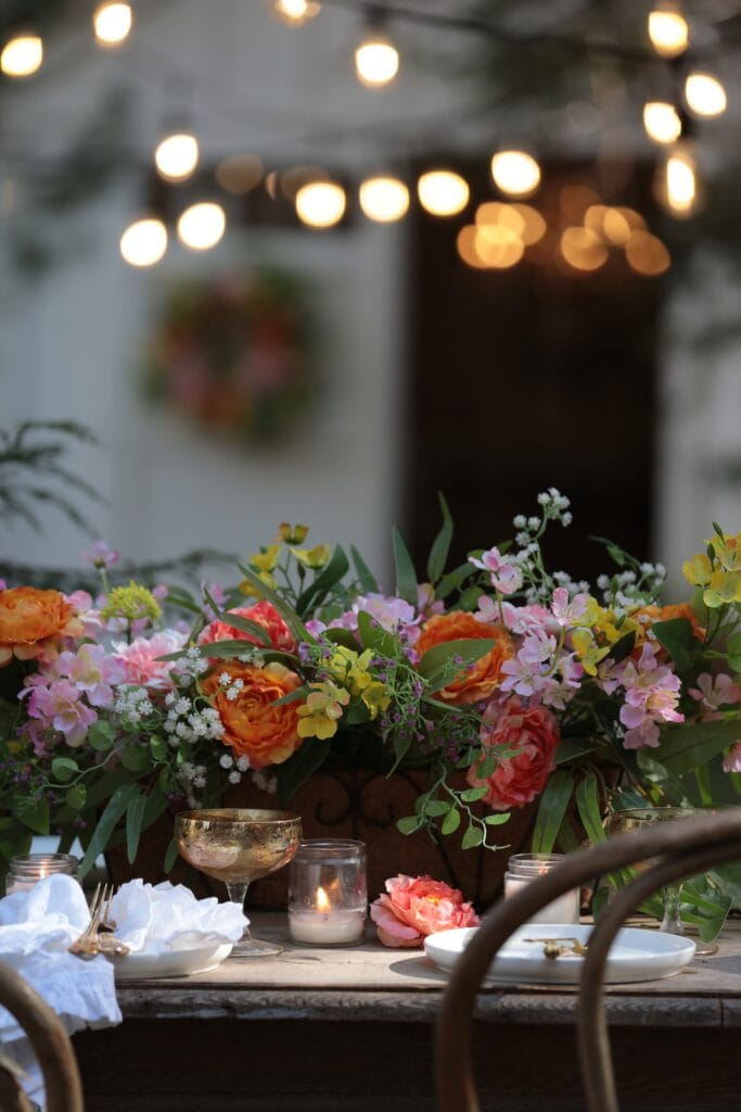 Faux flowers on table