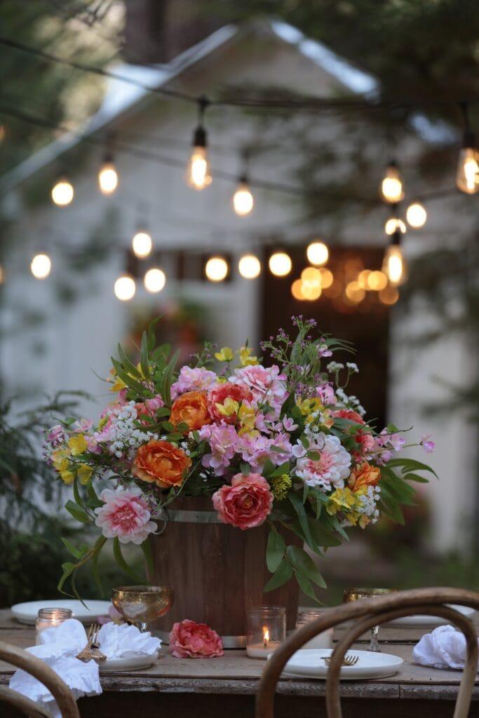 faux floral centerpiece bucket