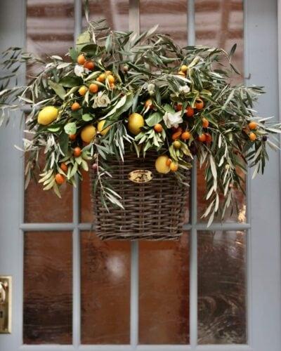 Citrus and olive door basket