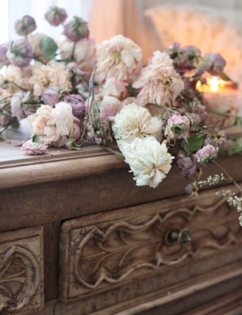 French Antique furniture with dried flowers