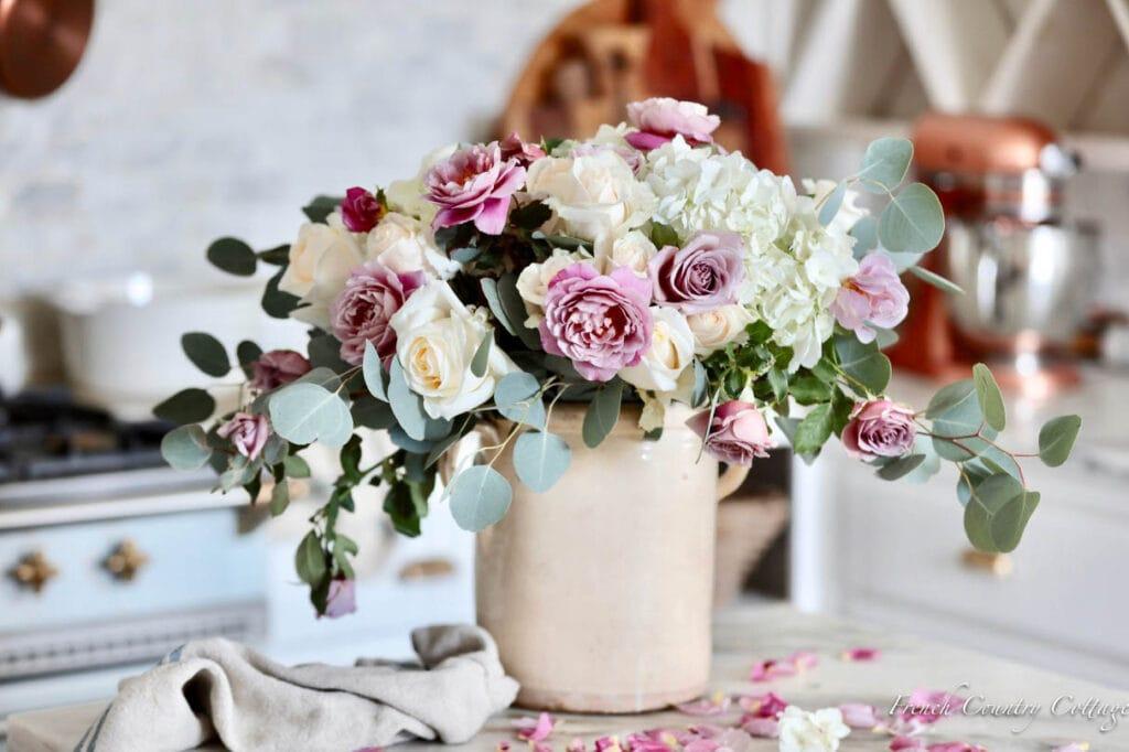 Fresh flower arrangement in kitchen
