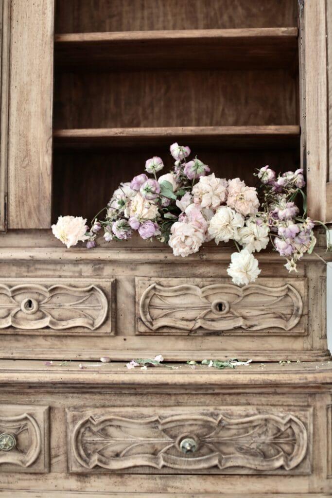 cupboard with flowers inside