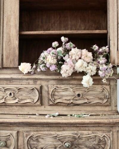 Antique raw wood cupboard