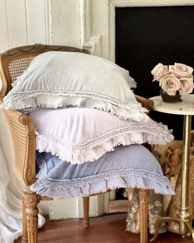 velvet pillows on chair