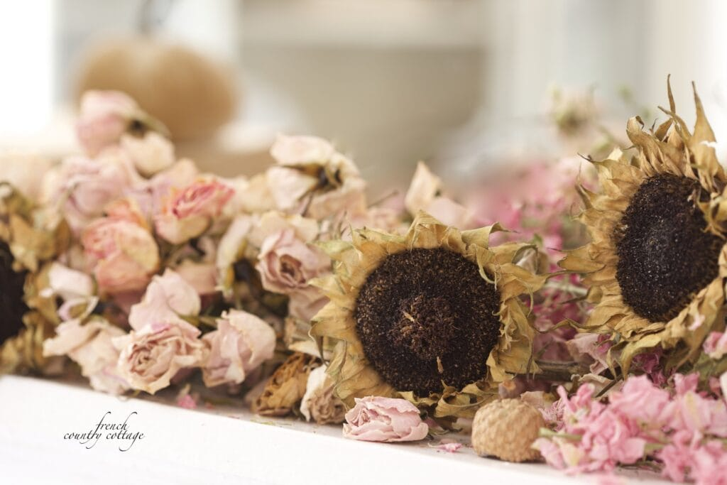 sunflowers and dried roses