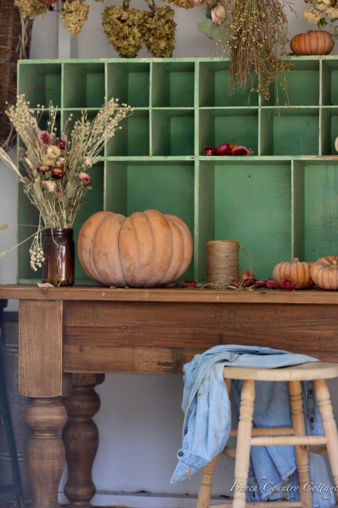 close up of pumpkin and vintage nook