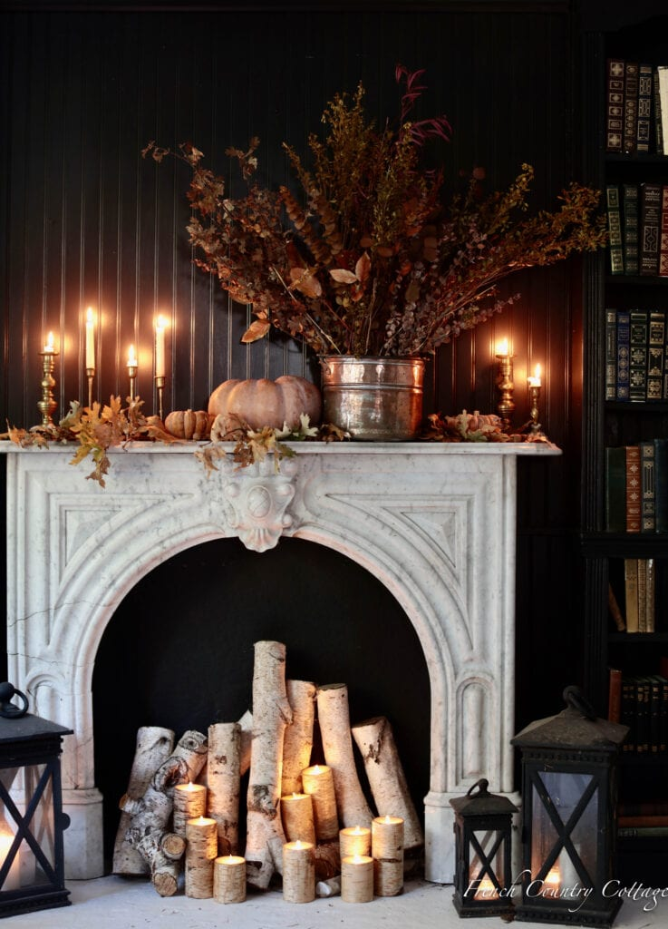 autumn mantel and candles in firebox