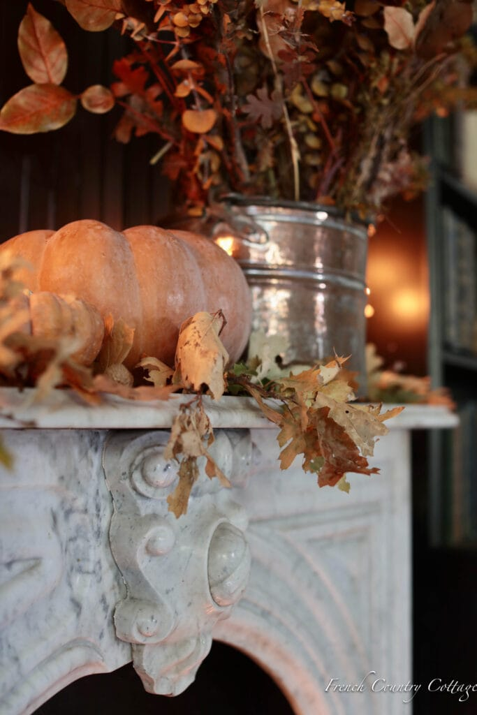 Close up of fall leaves on mantel
