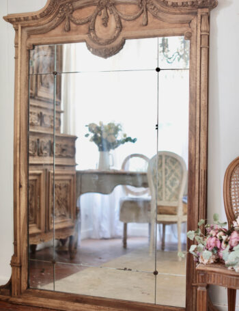 Antique bleached wood finish mirror
