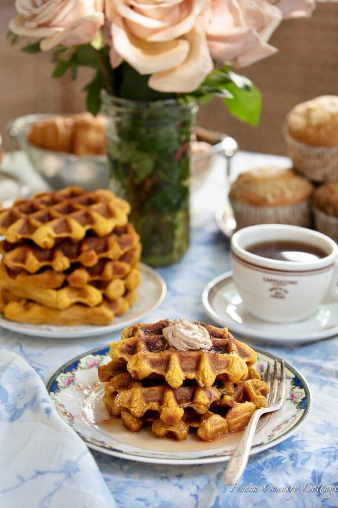 waffles with pumpkin butter