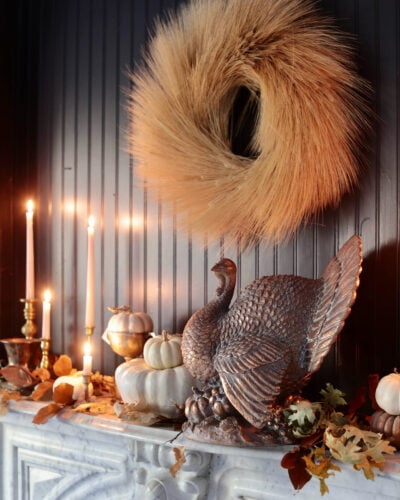 autumn mantel with turkey and wreath