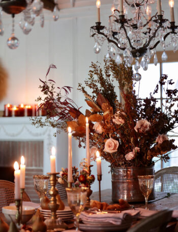 cozy candles on table