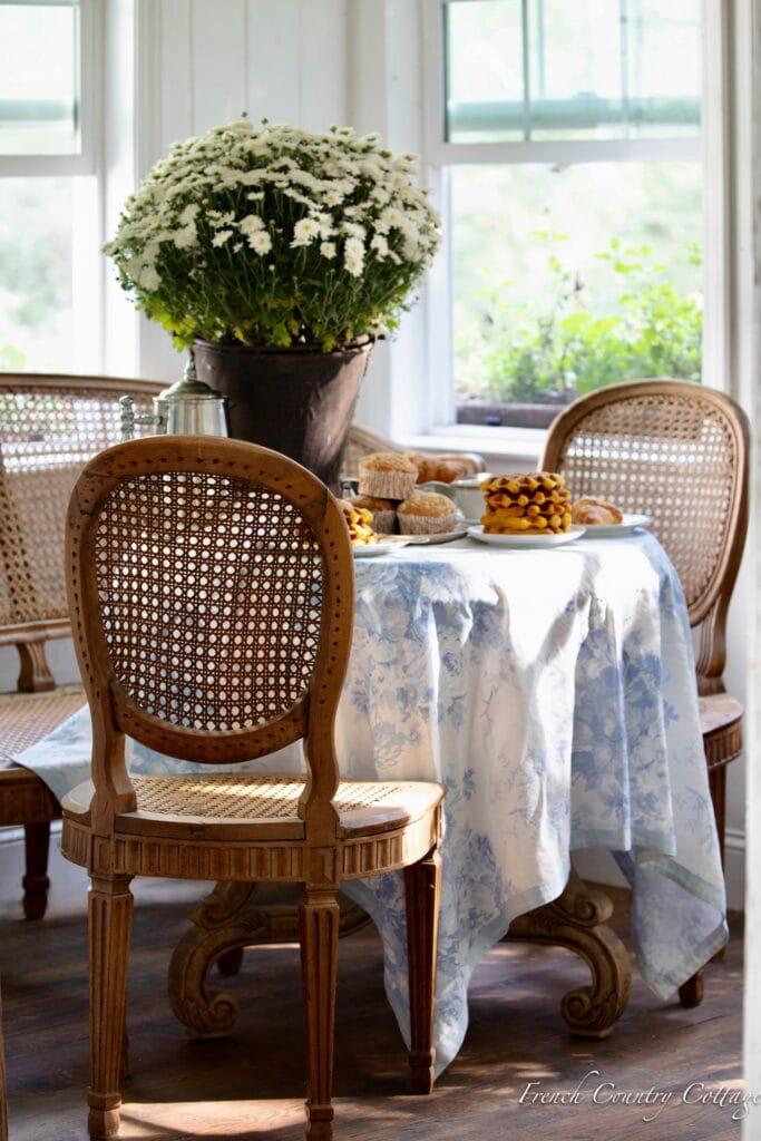 breakfast nook table with pumpkin waffles
