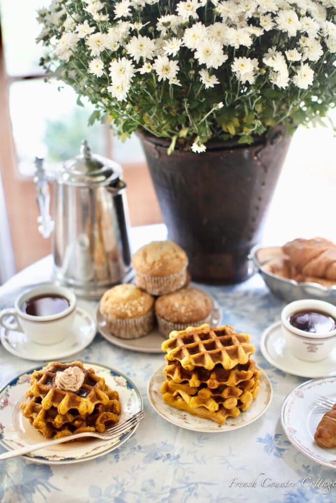 pumpkin waffles, coffee and muffins
