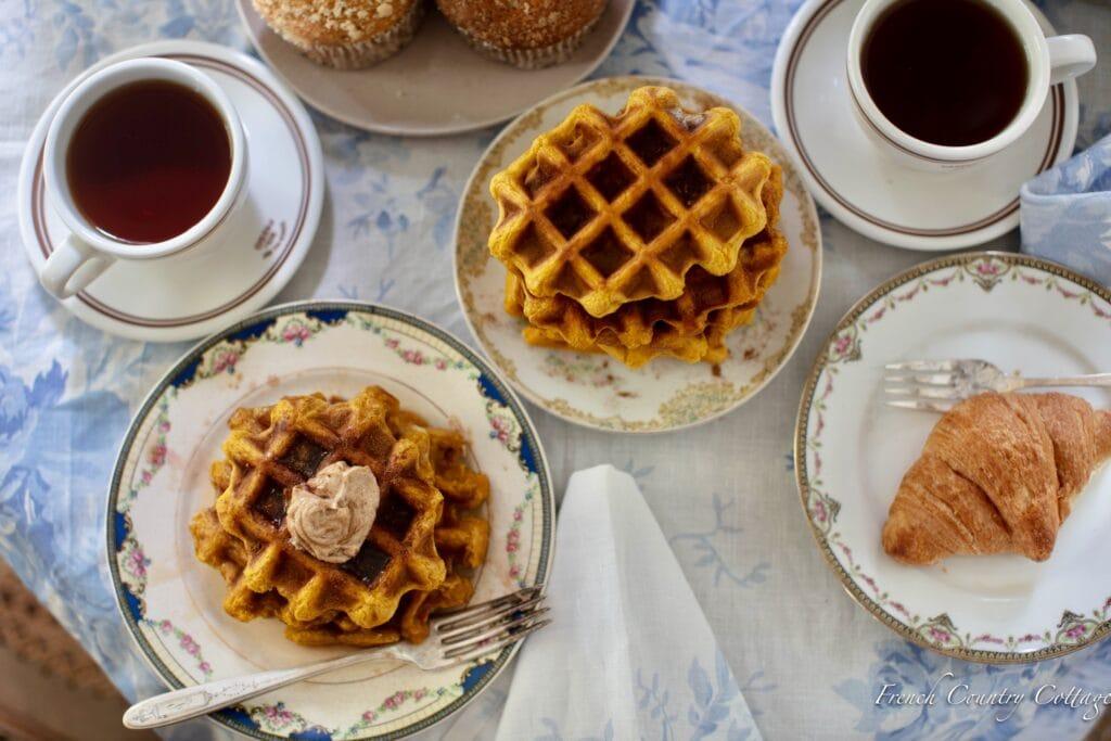 overhead view of pumpkin waffle breakfast